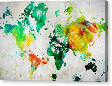 World Map Paint Splatter Canvas Print by Dan Sproul