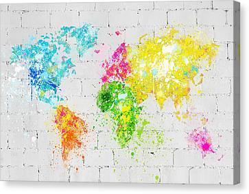 World Map Painting On Brick Wall Canvas Print by Setsiri Silapasuwanchai