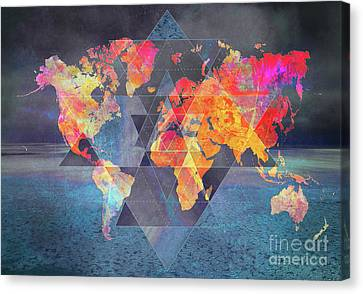 World Map Sacred 1 Canvas Print by Justyna JBJart