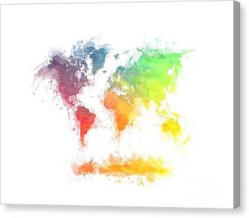 World Map Splash  4 Canvas Print by Justyna JBJart