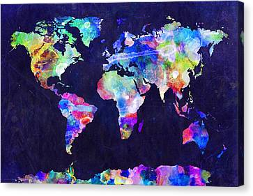 World Map Urban Watercolor Canvas Print by Michael Tompsett