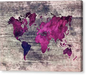 World Map Watercolor 7 Canvas Print by Justyna JBJart