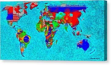 World Map With Flags - Da Canvas Print by Leonardo Digenio