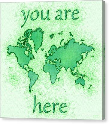World Map You Are Here Airy In Green And White Canvas Print