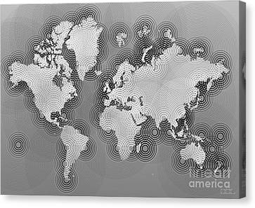 World Map Zona In Black And White Canvas Print