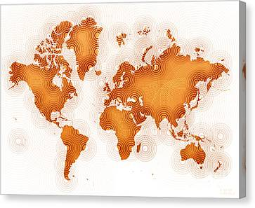World Map Zona In Orange And White Canvas Print