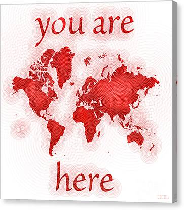 World Map Zona You Are Here In Red And White Canvas Print
