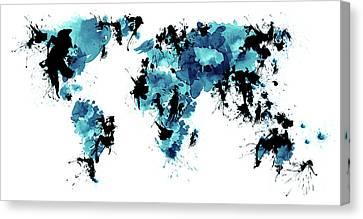 World Maps 4 Canvas Print by Prar Kulasekara