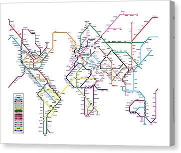 World Map Canvas Print - World Metro Map by Michael Tompsett