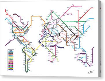 World Metro Tube Subway Map Canvas Print by Michael Tompsett