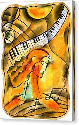 Music Inspired Art Canvas Print - World Of Music by Leon Zernitsky