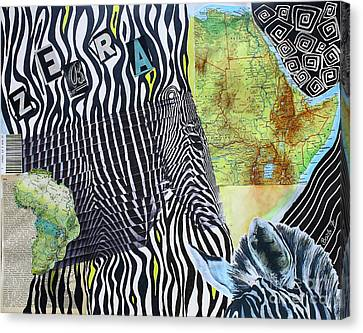 World Of Zebras Canvas Print by Barbara Teller