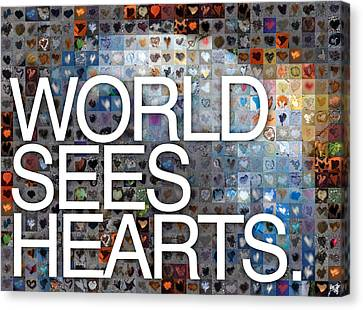 World Sees Hearts Canvas Print by Boy Sees Hearts