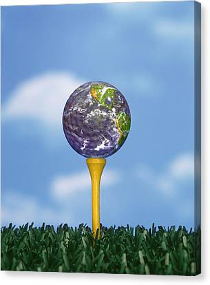 Golf Ball Canvas Print - World Teed Up by Gerard Fritz