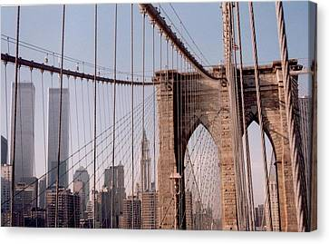 World Trade Center And Brooklyn Bridge Canvas Print by Christopher Kirby