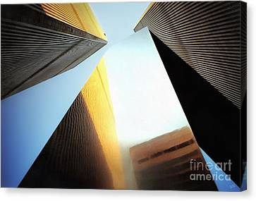 World Trade Center Towers And The Ideogram 1971-2001 Canvas Print by Nishanth Gopinathan