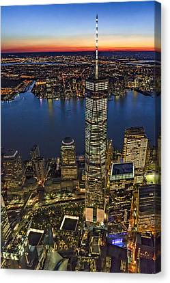 Reflected Canvas Print - World Trade Center Wtc From High Above by Susan Candelario