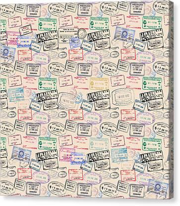 World Traveler Passport Stamp Pattern - Antique White Canvas Print