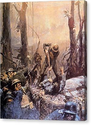 Historical Canvas Print - World War I, American Marines In The by Everett