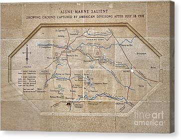 Bravery Canvas Print - World War I Marne Battle Map  by Olivier Le Queinec