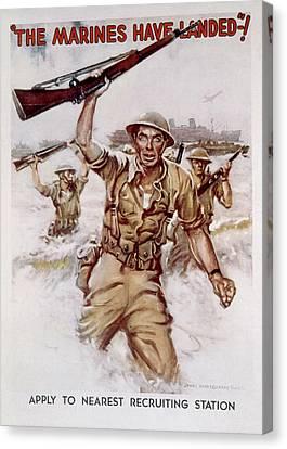 World War II, Marines Recruiting Poster Canvas Print by Everett