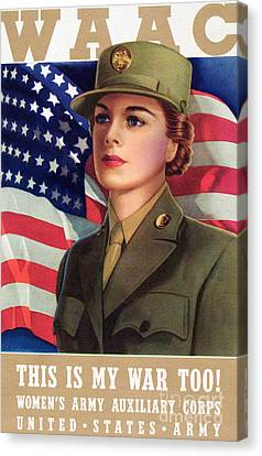 World War II Waac Poster This Is My War Too Canvas Print by American School