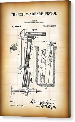 World War One Trench Warfare Pistol 1916 Canvas Print by Daniel Hagerman