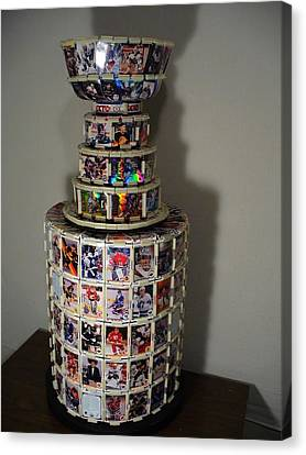 Worlds First Nhl Hockey Card Stanley Cup Canvas Print by Pjohn Artman