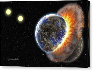 Mix Media Canvas Print - Worlds In Collision by Lynette Cook