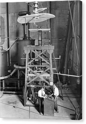 X-rays Of Canvas Print - World's Largest X-ray Tube by Underwood Archives