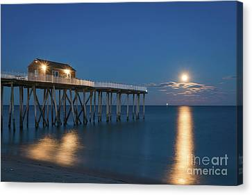 Worm Moon Rising At Belmar Canvas Print by Michael Ver Sprill