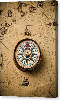 Worn Antique Map And Compass Canvas Print