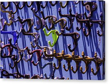 Worn Clothing Hooks Canvas Print by Garry Gay