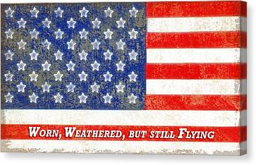 Worn Weathered But Still Flying Canvas Print by Steve Ohlsen