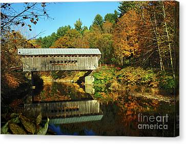 Worrall's Bridge Vermont - New England Fall Landscape Covered Bridge Canvas Print by Jon Holiday