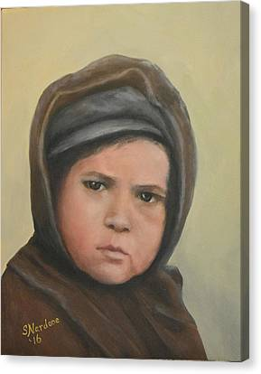 Worried Boy On Ellis Island Canvas Print by Sandra Nardone