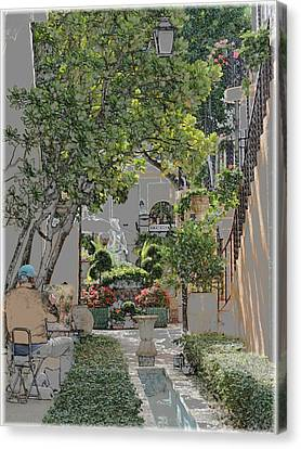 Canvas Print featuring the photograph Worth Avenue Painter by Ellen O'Reilly