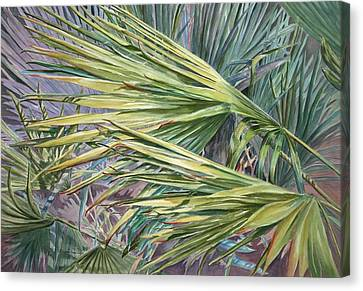 Canvas Print featuring the painting Woven Fronds by Roxanne Tobaison