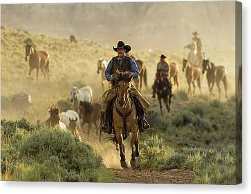 Wrangling The Horses At Sunrise  Canvas Print