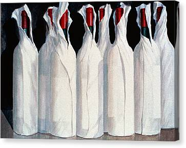 Wrapped Wine Bottles  Number One Canvas Print by Lincoln Seligman