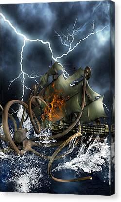 Wrath Of Kraken Canvas Print by Emma Alvarez