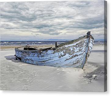 Wreck Of A Barge On A Baltic Beach Canvas Print by Joachim G Pinkawa