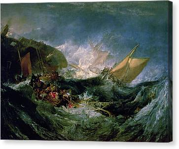 Wreck Of A Transport Ship Canvas Print by Joseph Mallord William Turner