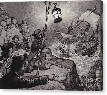Pirate Ships Canvas Print - Wreckers At Work On The Shores Of Cornwall  by Pat Nicolle