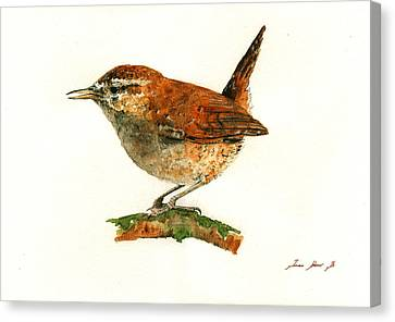 Wren Bird Art Painting Canvas Print by Juan  Bosco