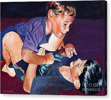 Bonding Canvas Print - Wrestling Brothers by Deanna Yildiz