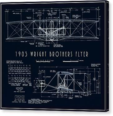 Wright Bros Flyer Aeroplane Blueprint  1903 Canvas Print