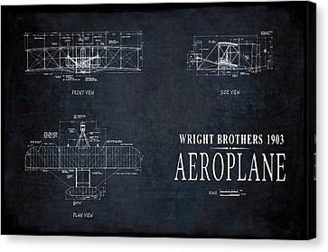 Wright Brothers 1903 Aeroplane Blueprint Canvas Print