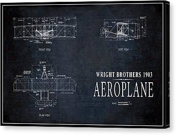 Wright Brothers 1903 Aeroplane Pinline Border Canvas Print by Daniel Hagerman