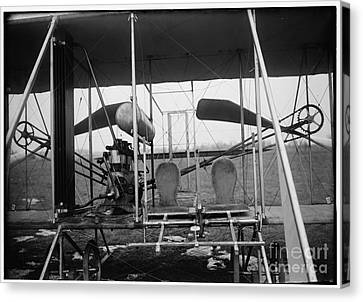 Wright Brothers Close Up View Of Airplane Including The Pilot And Passenger Seats Canvas Print by R Muirhead Art